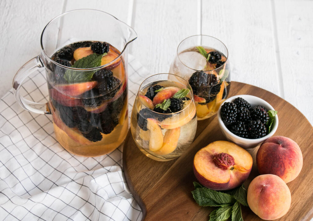 Summer Sipping – Blackberry Peach Sangria with Elderflower