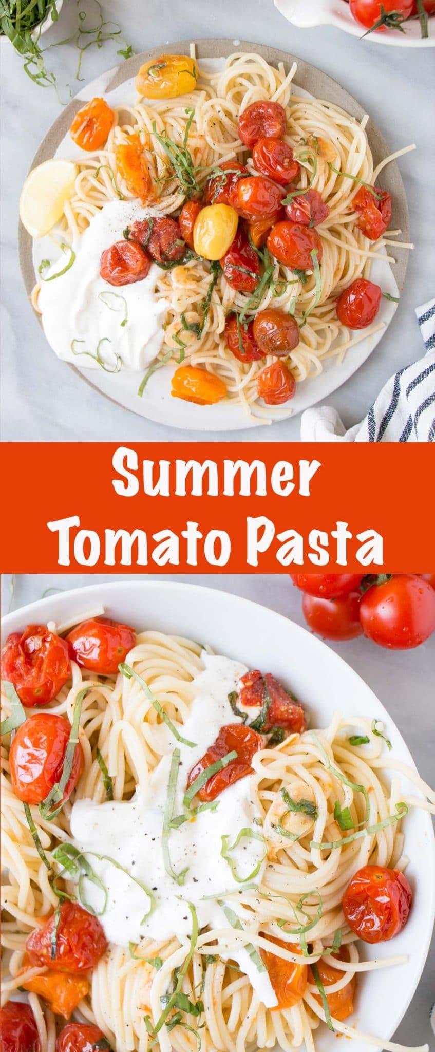 Summer Tomato Basil Pasta - Long Pin