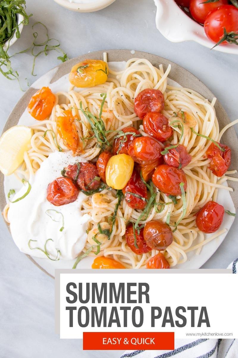 Summer Tomato Basil Pasta - short pin