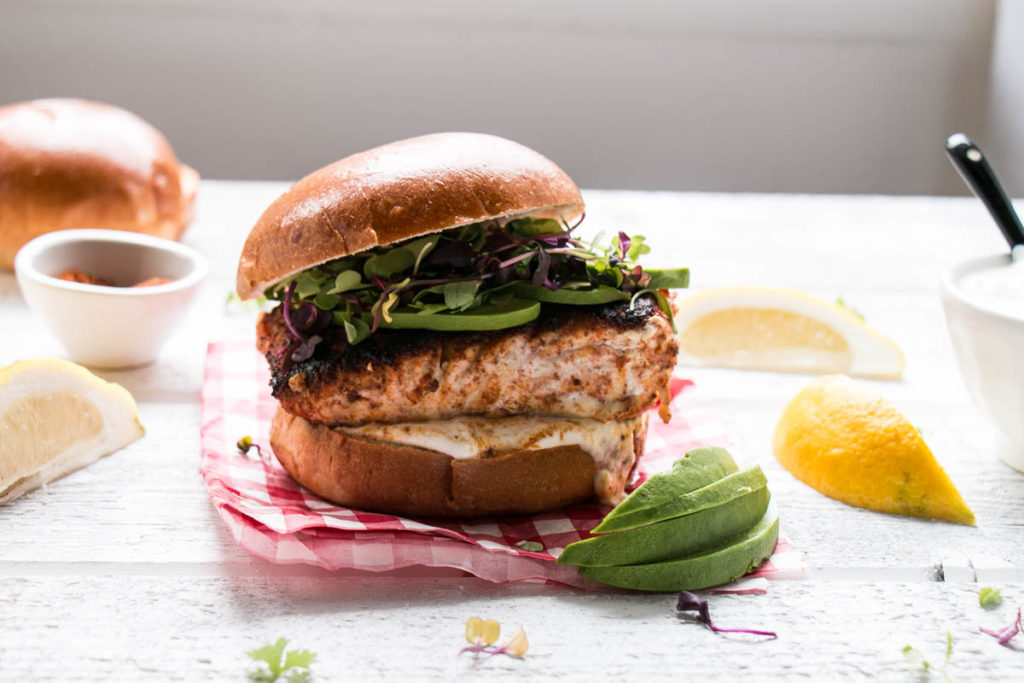 Blackened Harissa Halibut Burger | My Kitchen Love