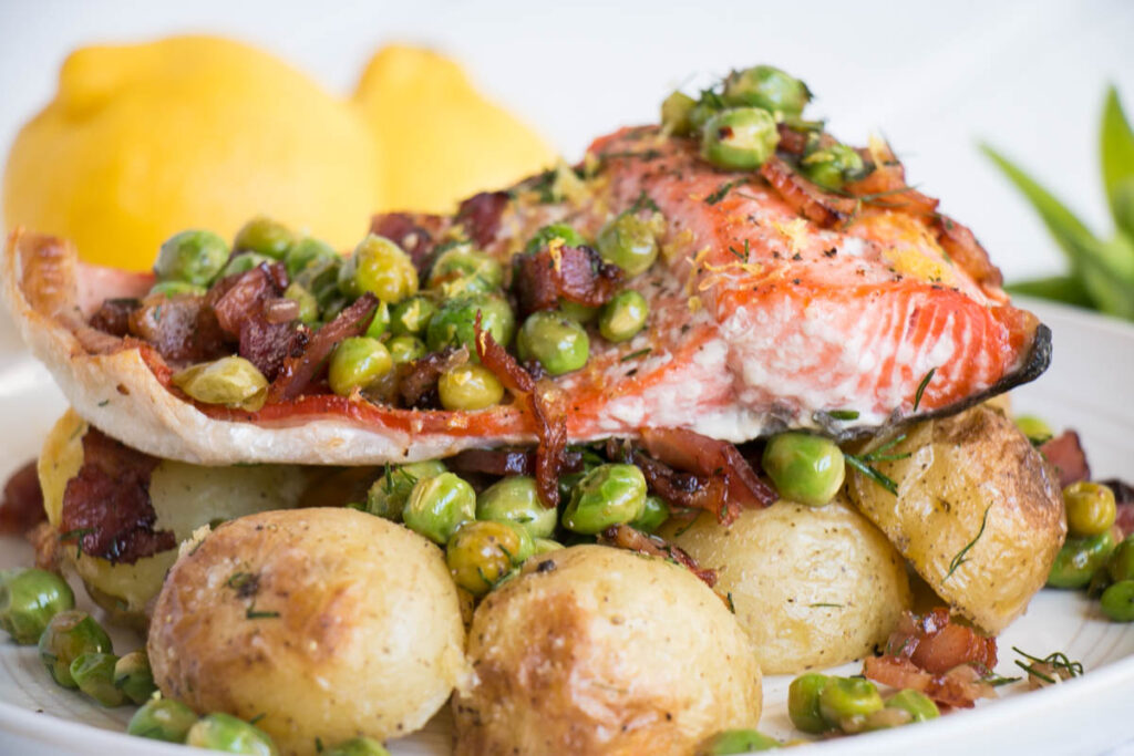 Peas, Pods and Sweet Summer Memories – Salmon with Potatoes and Bacon Peas