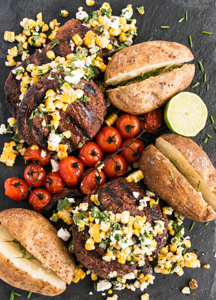 Homecoming – Grilled Steaks with Charred Corn and Chile Pepper Salad