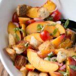 Bright and colourful Nectarine Panzanella Salad