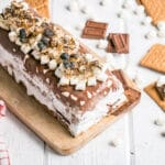 S'mores Icebox Cake with toasted mini marshmallows on top.