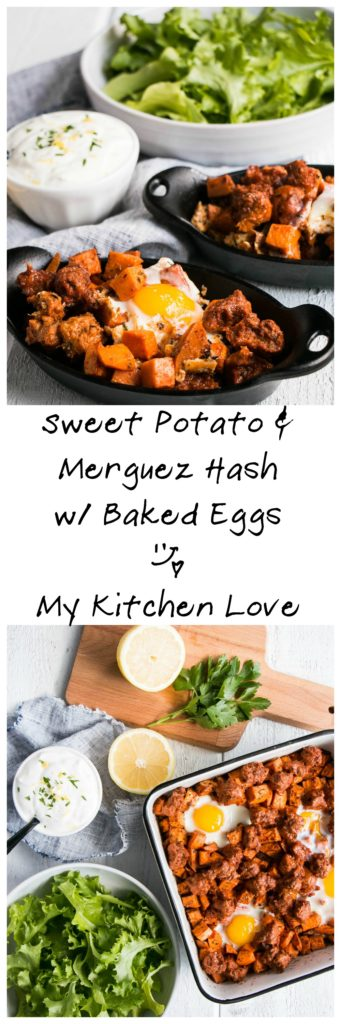 Sweet Potato and Merguez Hash with Baked Eggs | My Kitchen Love