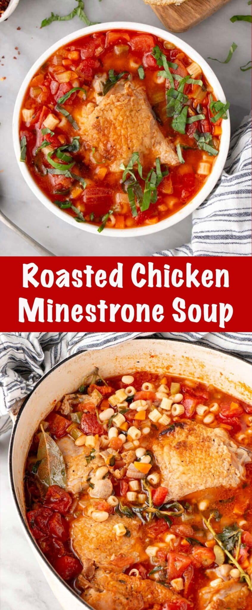 Roasted Chicken Minestrone Soup Long Pin