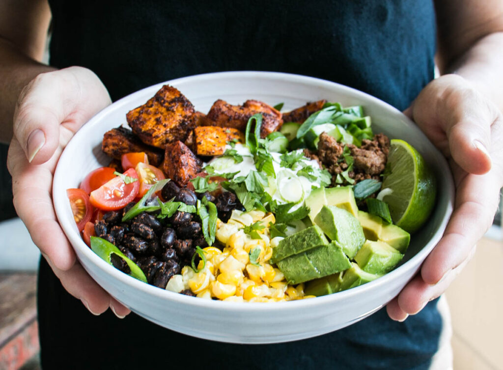 Easy Delicious And Vibrant Sweet Potato Taco Bowl Take Taco Night Up To The Next Level With This Delicious And Healthy Meal