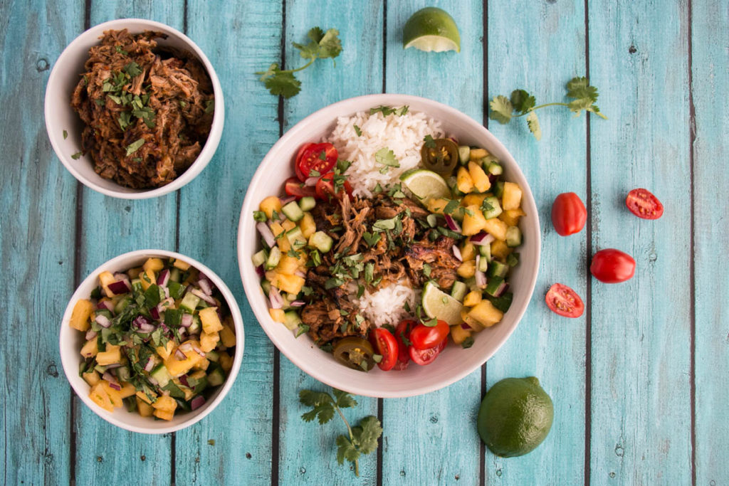 Little Donkey – Slow Cooker Pork Carnitas Burrito Bowls