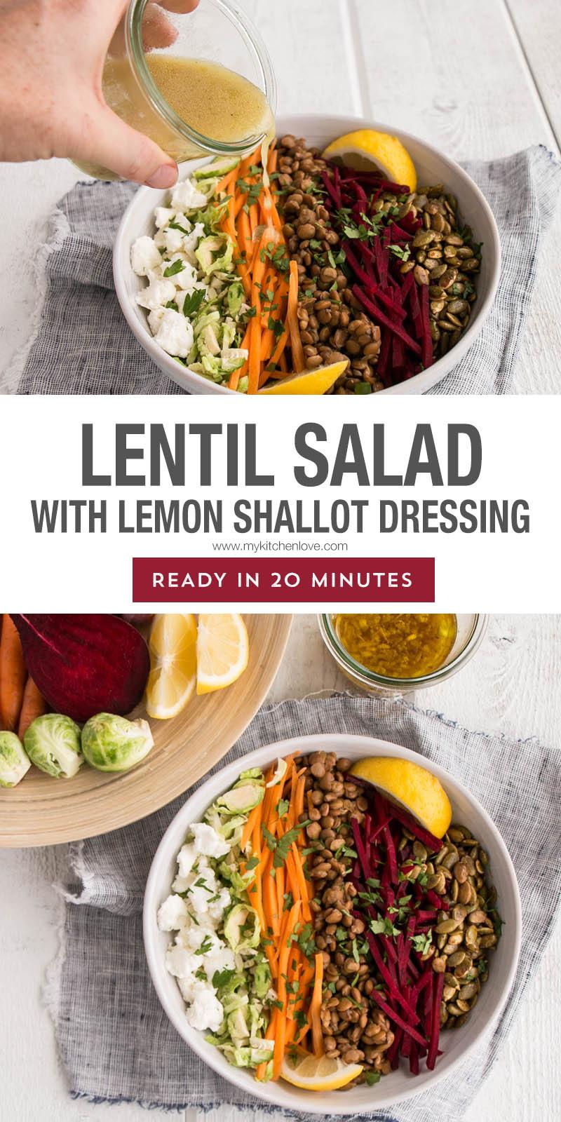 Lentil Salad with Lemon Shallot Dressing Long Pin