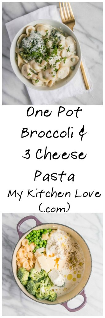 One Pot Broccoli and 3 Cheese Pasta