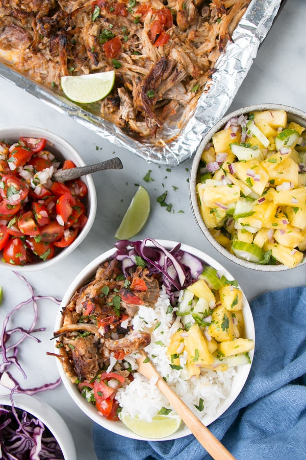 Slow Cooker / Instant Pot Pork Carnitas Burrito Bowls.