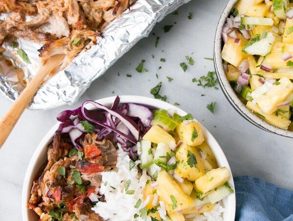 Slow Cooker / Instant Pot Pork Carnitas Burrito Bowls.