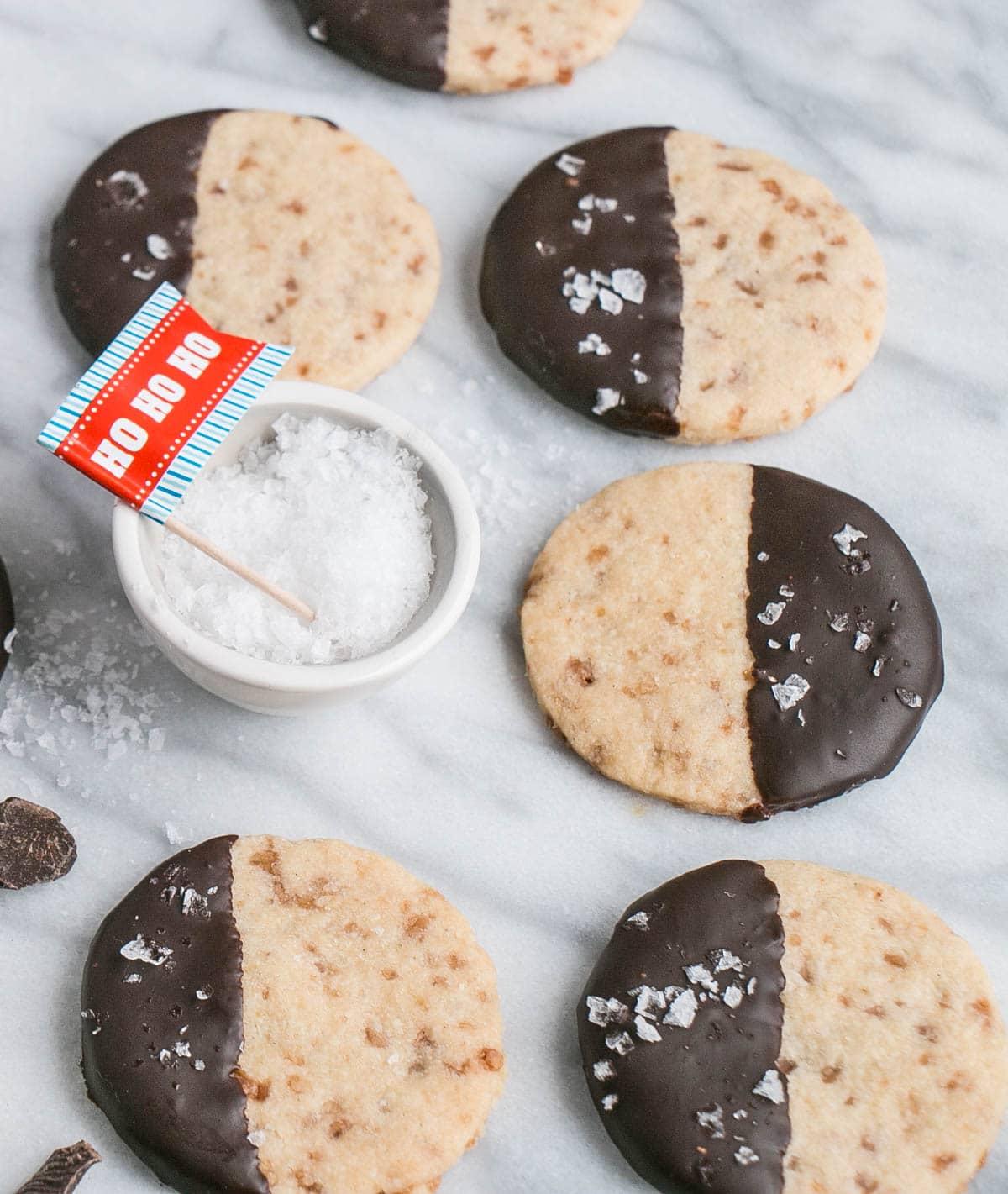 Dark Chocolate Dipped Shortbread Cookies with Flaky Sea Salt