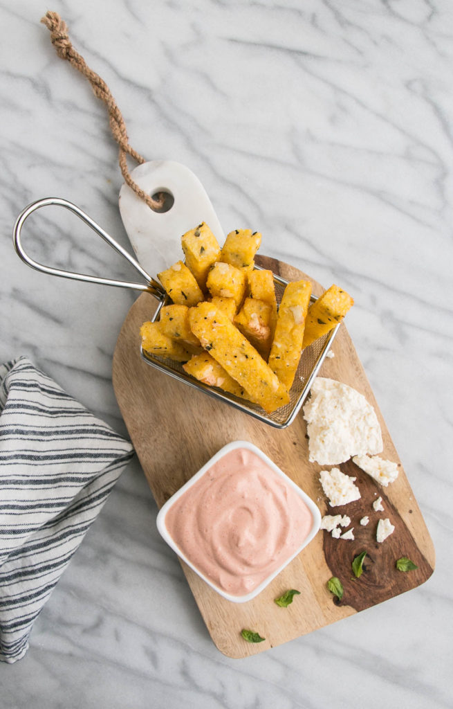 Basil and Feta Polenta Fries with Tomato Dip | My Kitchen Love
