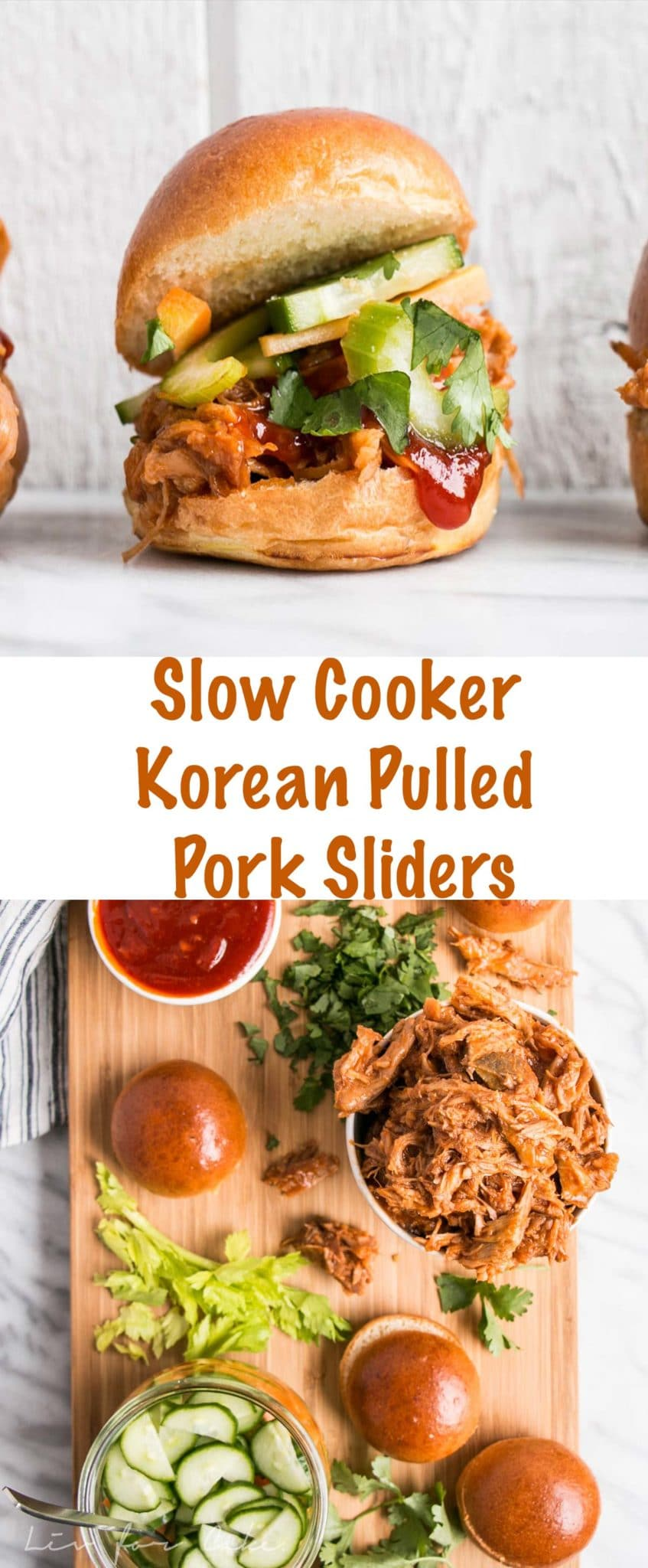 Slow Cooker Korean Pulled Pork Sliders Long Pin