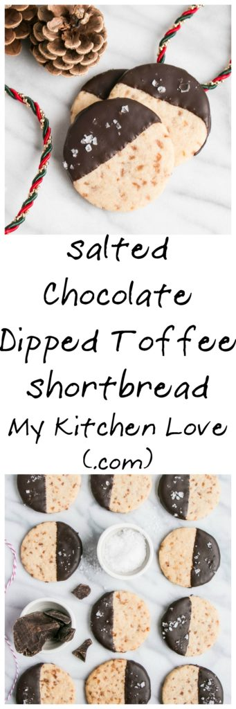 Salted Chocolate Dipped Toffee Shortbread Cookies | My Kitchen Love