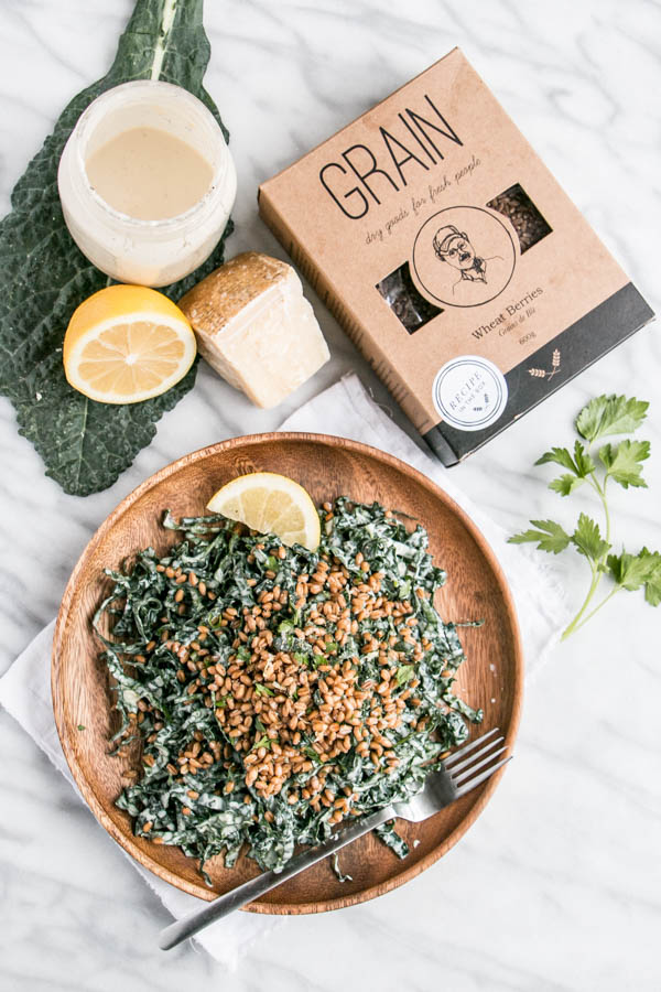 Kale Caesar Salad with Toasted Wheat Berries | My Kitchen Love