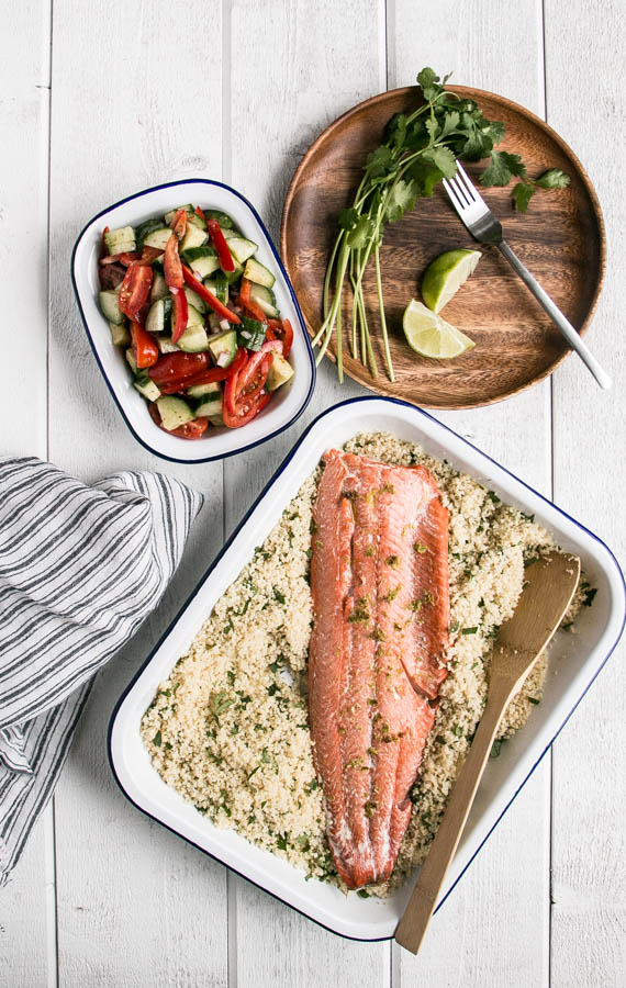 15 minute Dinner: Broiled Salmon, Herbed Couscous & Salad