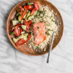 15 minute dinner: Broiled Salmon, Herbed Couscous, and Salad | My Kitchen Love