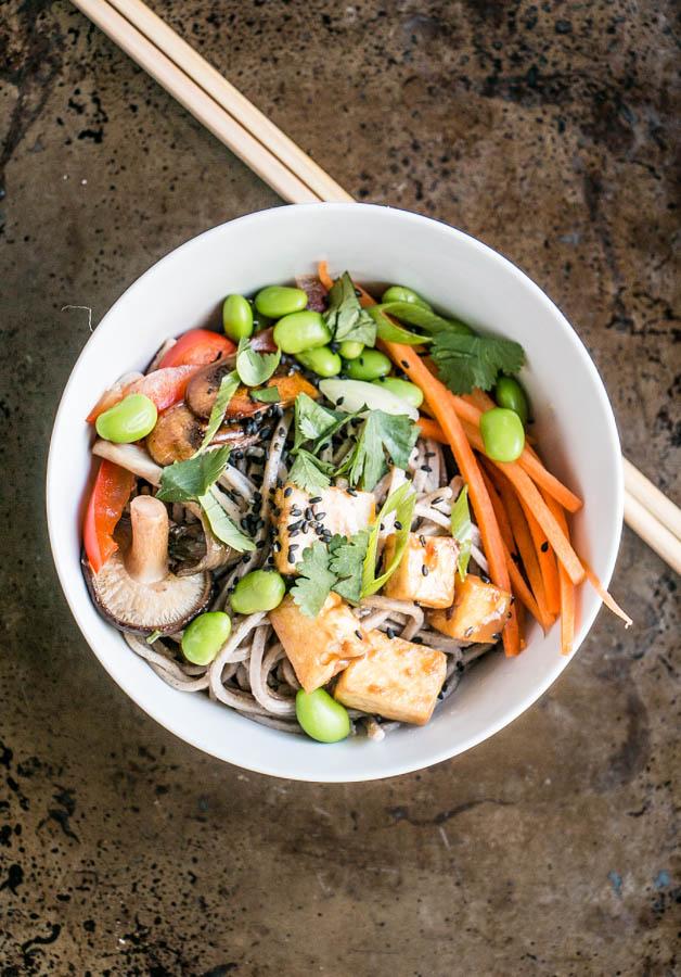 Peanut Tofu Noodle Bowl | My Kitchen Love