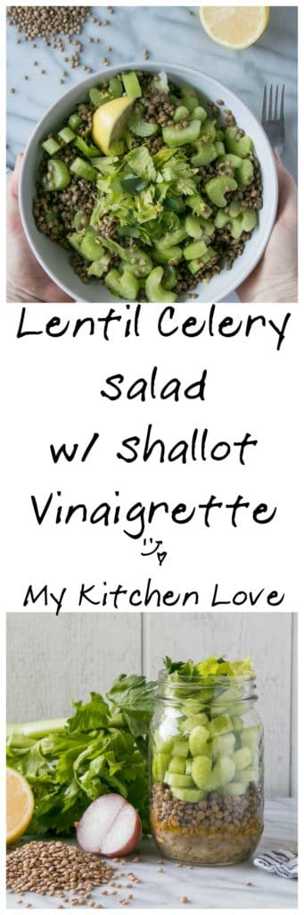 Lentil Celery Salad with Shallot Vinaigrette | My Kitchen Love
