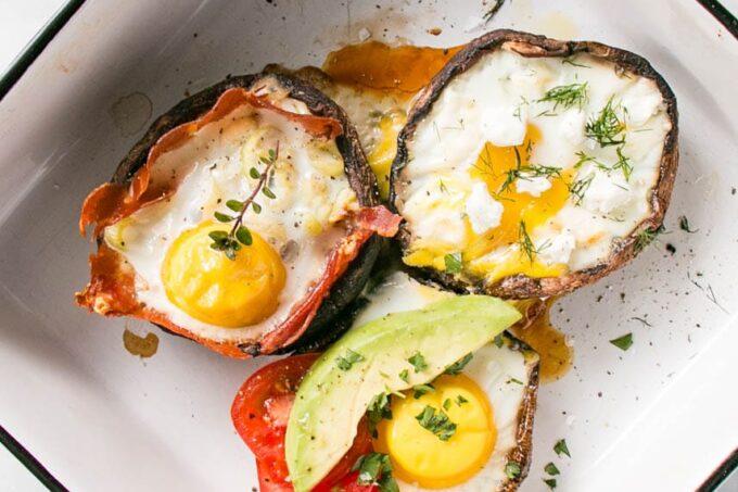 Portobello Mushroom Baked Eggs 3 Ways | My Kitchen Love