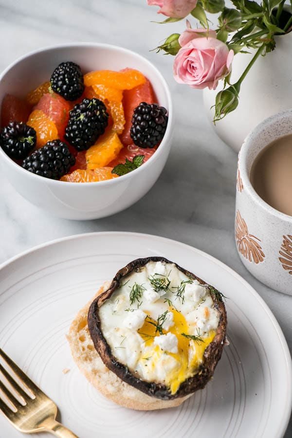 Portobello Mushroom Baked Eggs with Goat's Cheese and Dill | My Kitchen Love