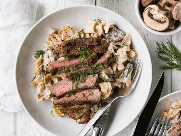 Upclose personal serving of Beef Striploin Stroganoff