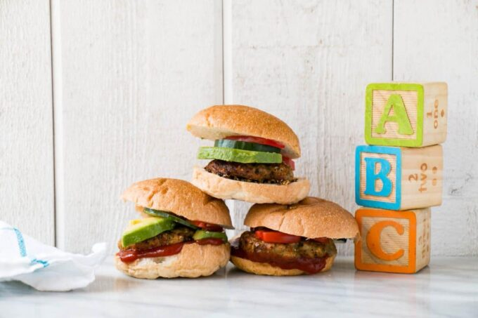 Photo of chicken, apricot, and herb patties in buns