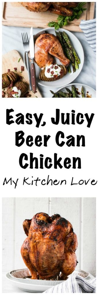 Easy Beer Can Chicken | My Kitchen Love. Juicy and flavourful chicken. Perfect for #FathersDay #grill #bbq #chicken
