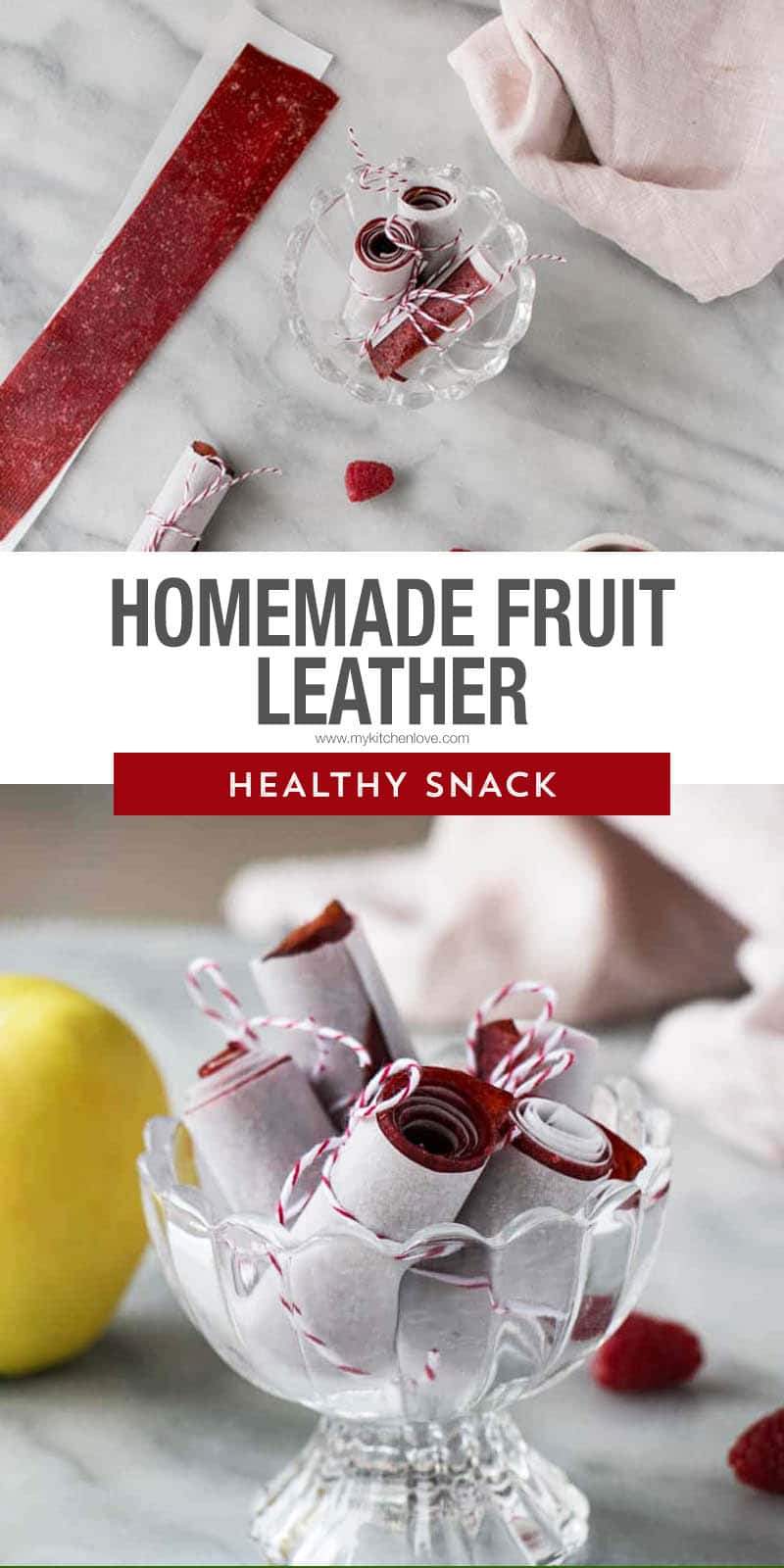 Easy Homemade Fruit Leather plus 10 other healthy snacks for back-to-school. This Raspberry Apple Fruit Leather recipe is always a kid (and adult) favourite! via @mykitchenlove