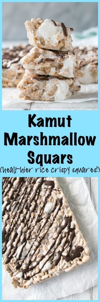 Kamaut Puff Marshmallow Squares. A healthier take on the usual preschool marshmallow squares. And 9 other nut-free snack ideas!
