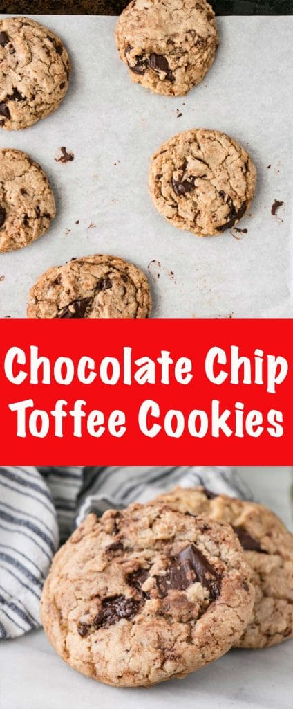 Chocolate Chip Toffee Cookies are the best one bowl cookie! Easy to make as there's no machines and no waiting around for butter to soften. And it makes a huge batch!