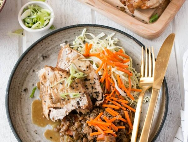 Slow Cooker Miso Soy Turkey and Lentils are a perfect back to school meal! Toss into the slow cooker and have dinner ready for when work, school and activities are done. Economical, nutritious and so tasty with miso soy flavours. #ad