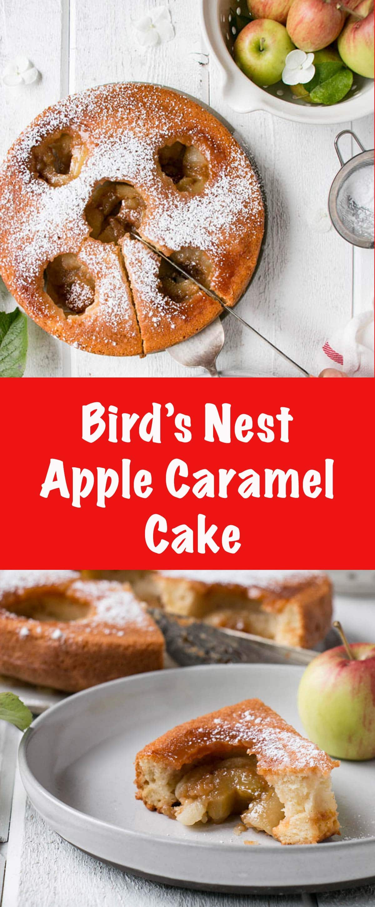 Bird's Nest Apple Caramel Cake is an easy cake to prepare and celebrate the delicious Fall apple flavours.