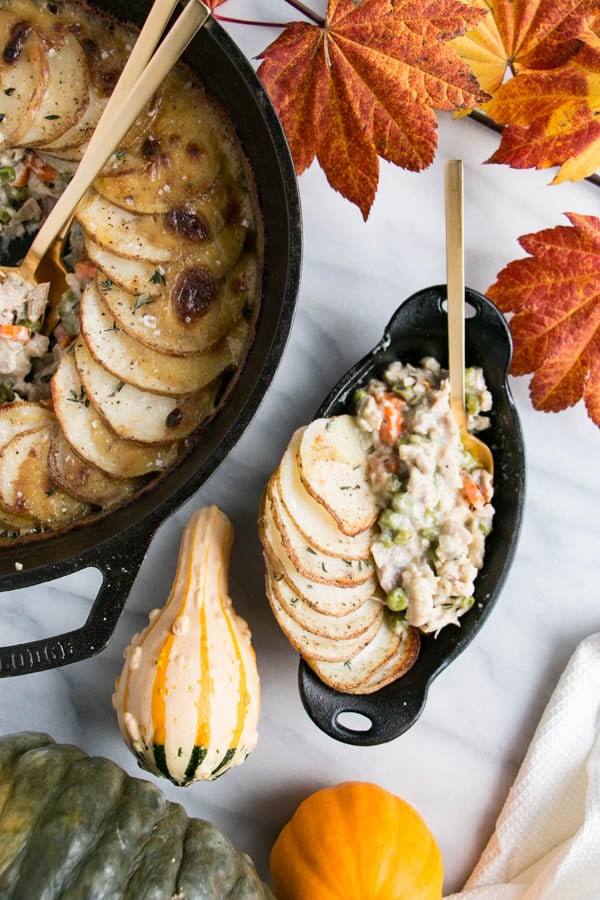 Take using leftover turkey up a notch with this crazy easy and scrumptious Turkey Pot Pie with a potato topping.