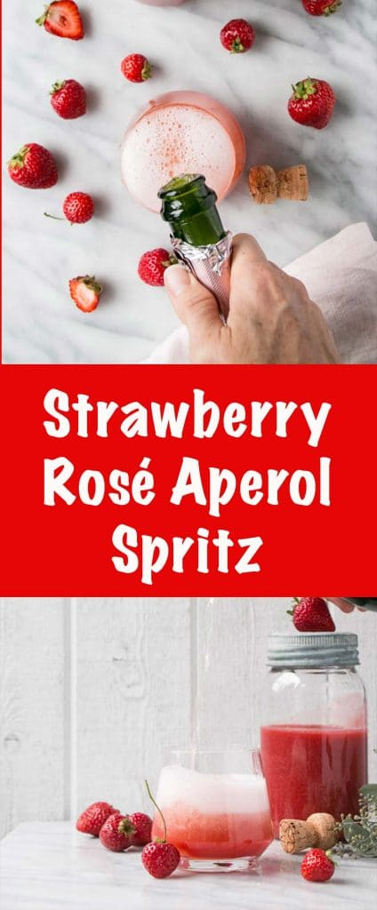 Strawberry Rosé Aperol Spritz is a fizzy refreshing cocktail made from only 4 ingredients! It's the perfect way to start off an evening or to enjoy happy hour with!