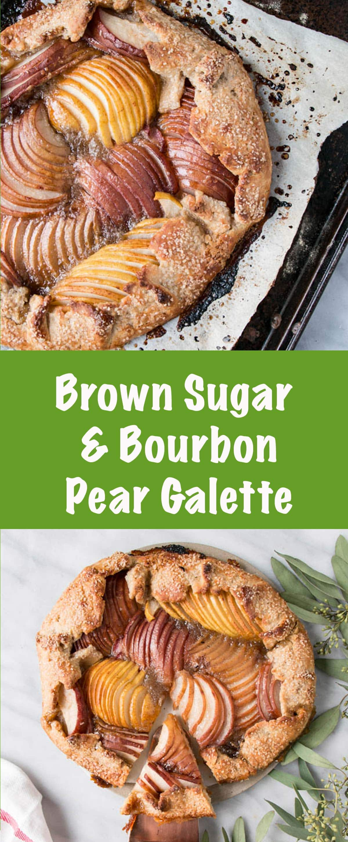 Brown Sugar Bourbon Pear Galette with a whole wheat crust is a perfect Fall Treat and while simple, stunning.
