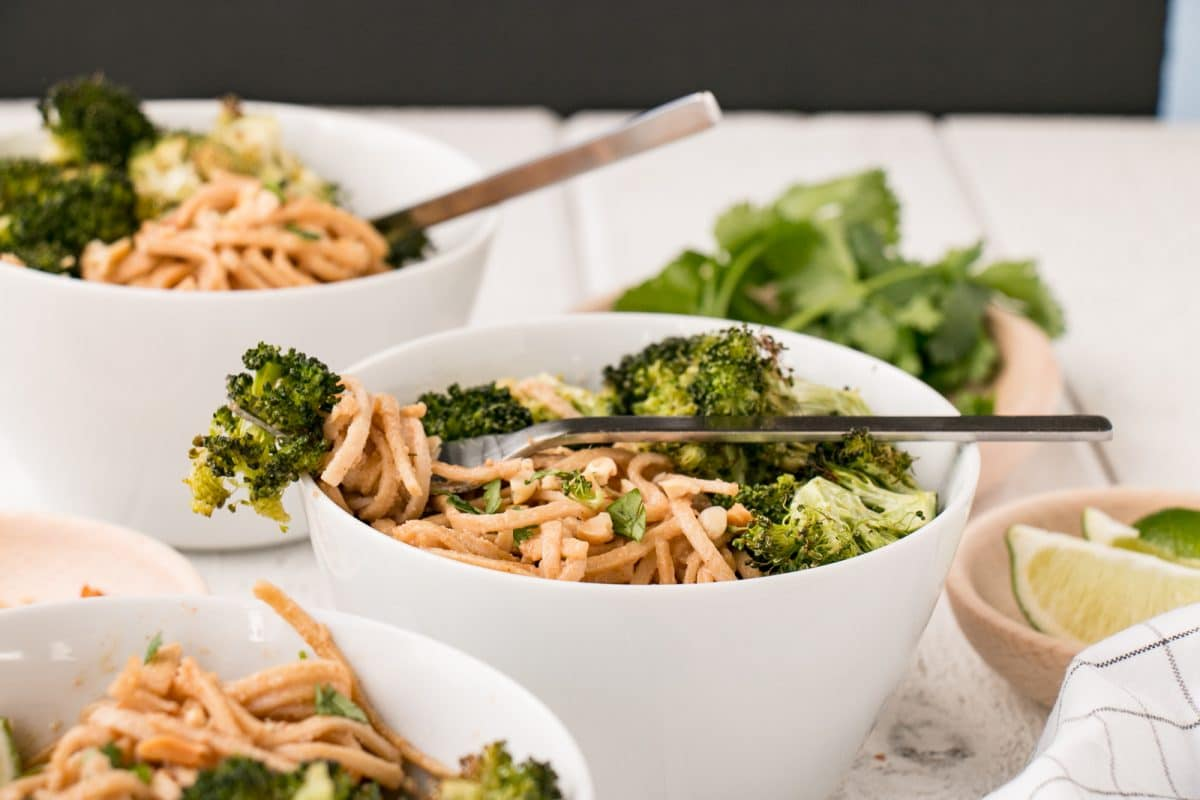 Garlicky Peanut Soba Noodles with Roasted Broccoli is our new favourite vegetarian way to enjoy dinner! Super nutritious from the soba noodles and broccoli, but incredibly kid-friendly thanks to a garlicky peanut sauce.