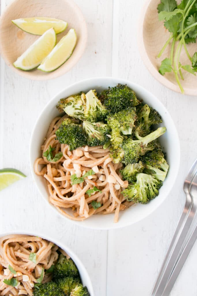 Garlicky Peanut Soba Noodles with Roasted Broccoli