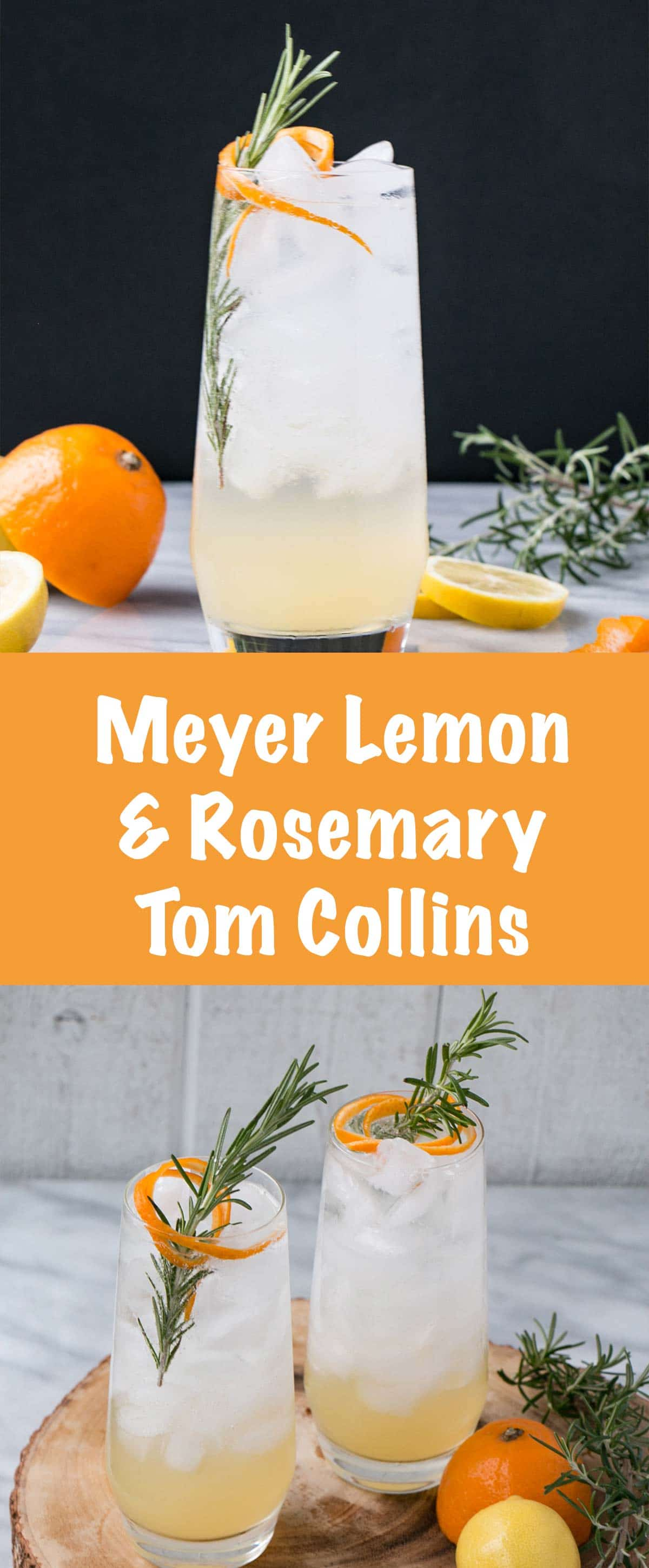 Meyer Lemon and Rosemary Tom Collins is a refreshing seasonal recipe that has a hint of rosemary and the bright taste of Meyer Lemon. #cocktail #drink #tomcollins