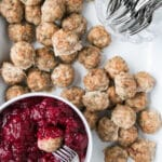 Mini Turkey Meatballs with Easy Cranberry Sauce Dip is a great (freezer-friendly!!) make ahead party appetizer. #appetizer #freezerfriendly #meatballs