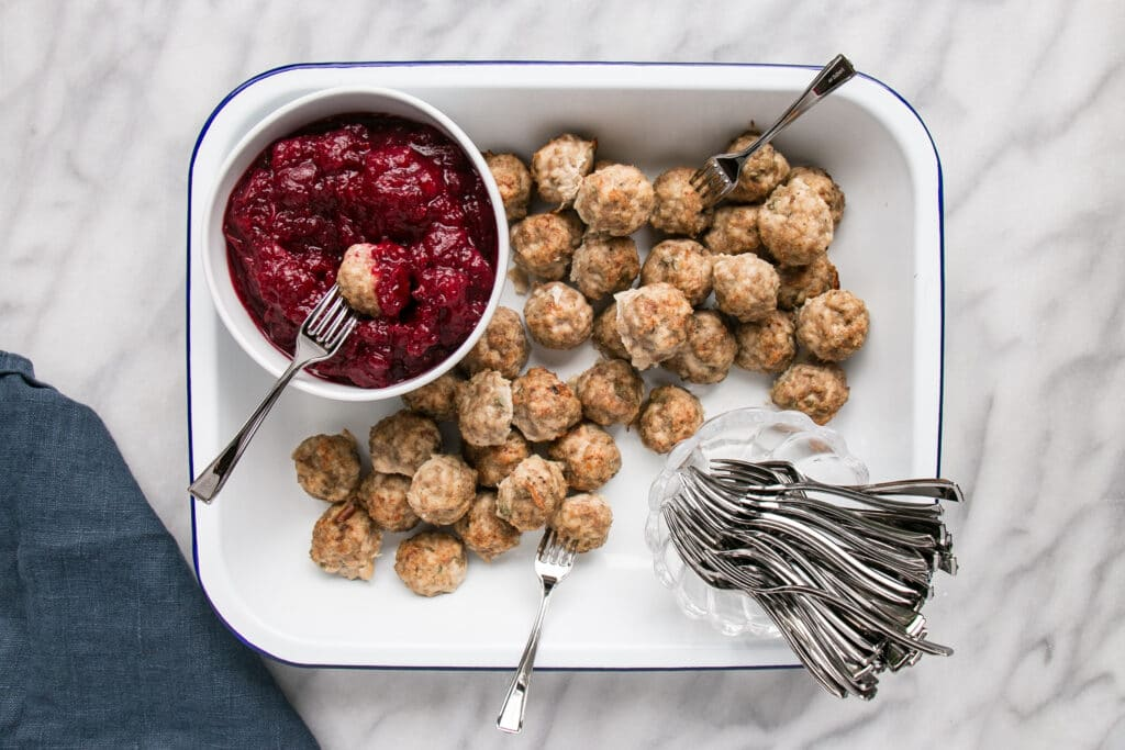 Mini Turkey Meatballs with Easy Cranberry Dip