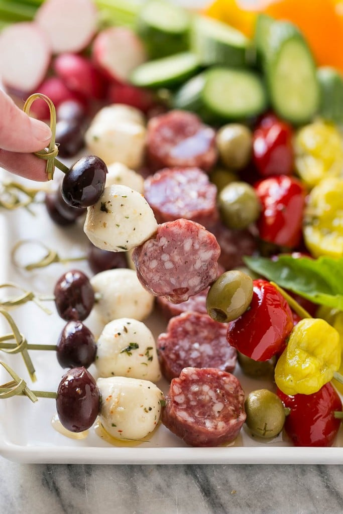 Antipasto Skewers for one of the 10 Best Make Ahead Holiday Appetizers #holidays #appetizer #partyfood