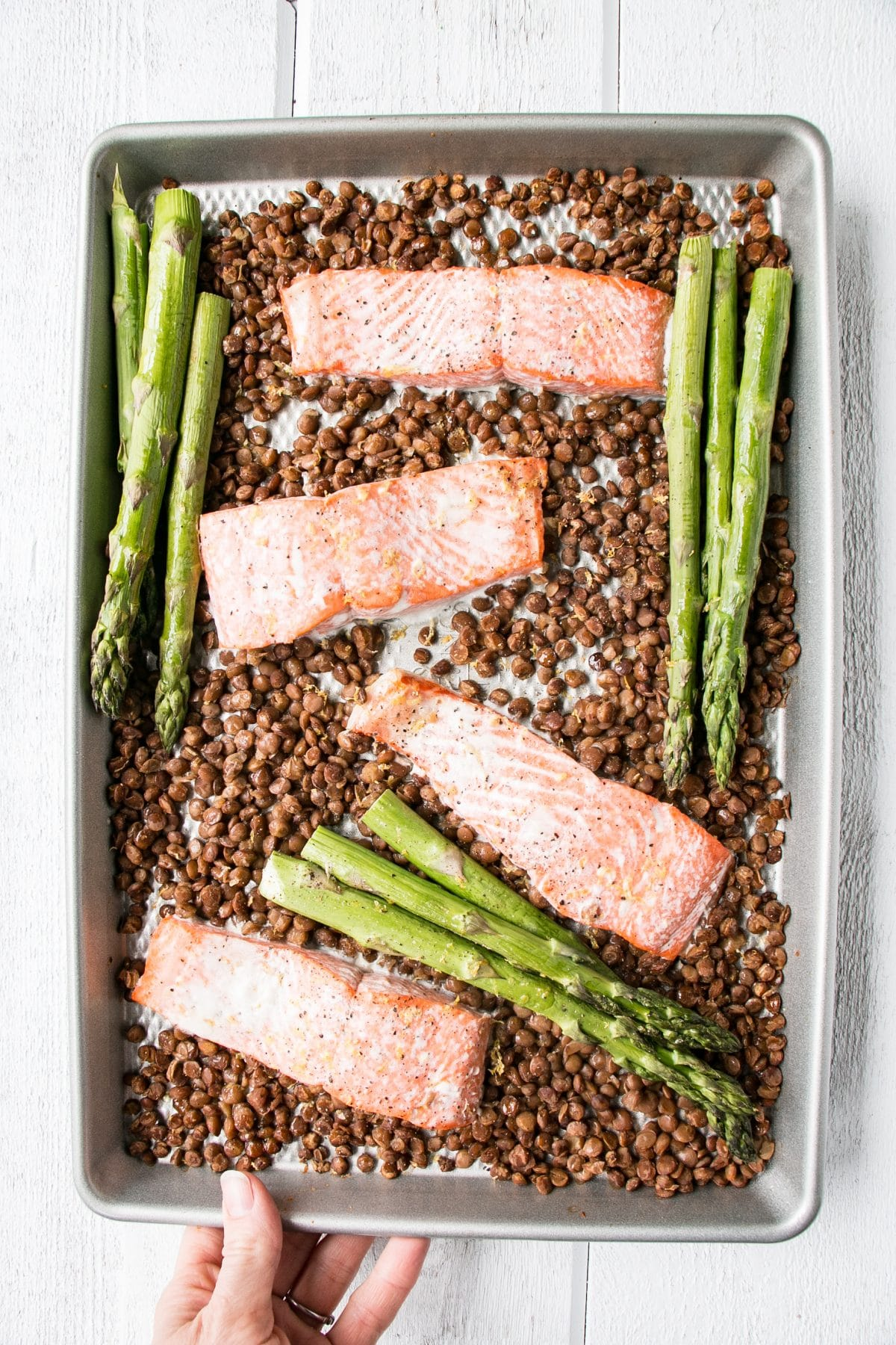 Healthy, quick, and beyond easy Sheet Pan Salmon, Lentils, and Asparagus. #LoveLentils #mealprep #healthy #GetPrepped #ad
