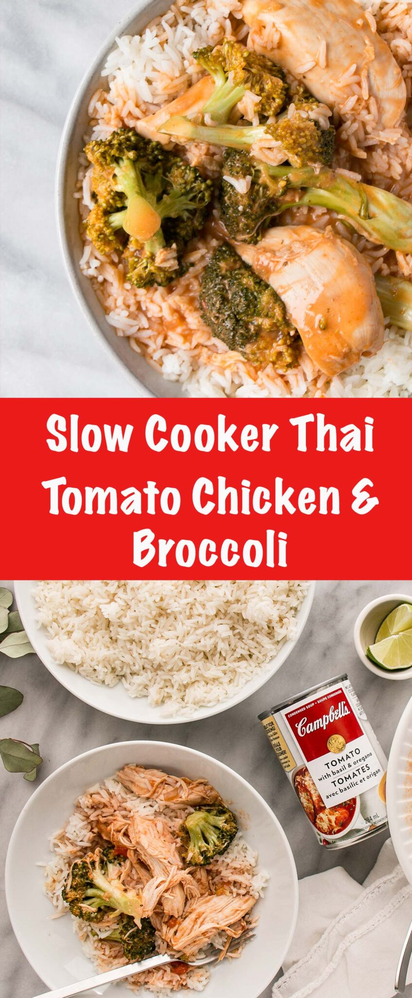 Slow Cooker Thai Tomato Chicken and Broccoli is a 5 minute prep and walk away dinner that will satisfy even the pickiest of eaters! #ad #windinner #slowcooker #chicken