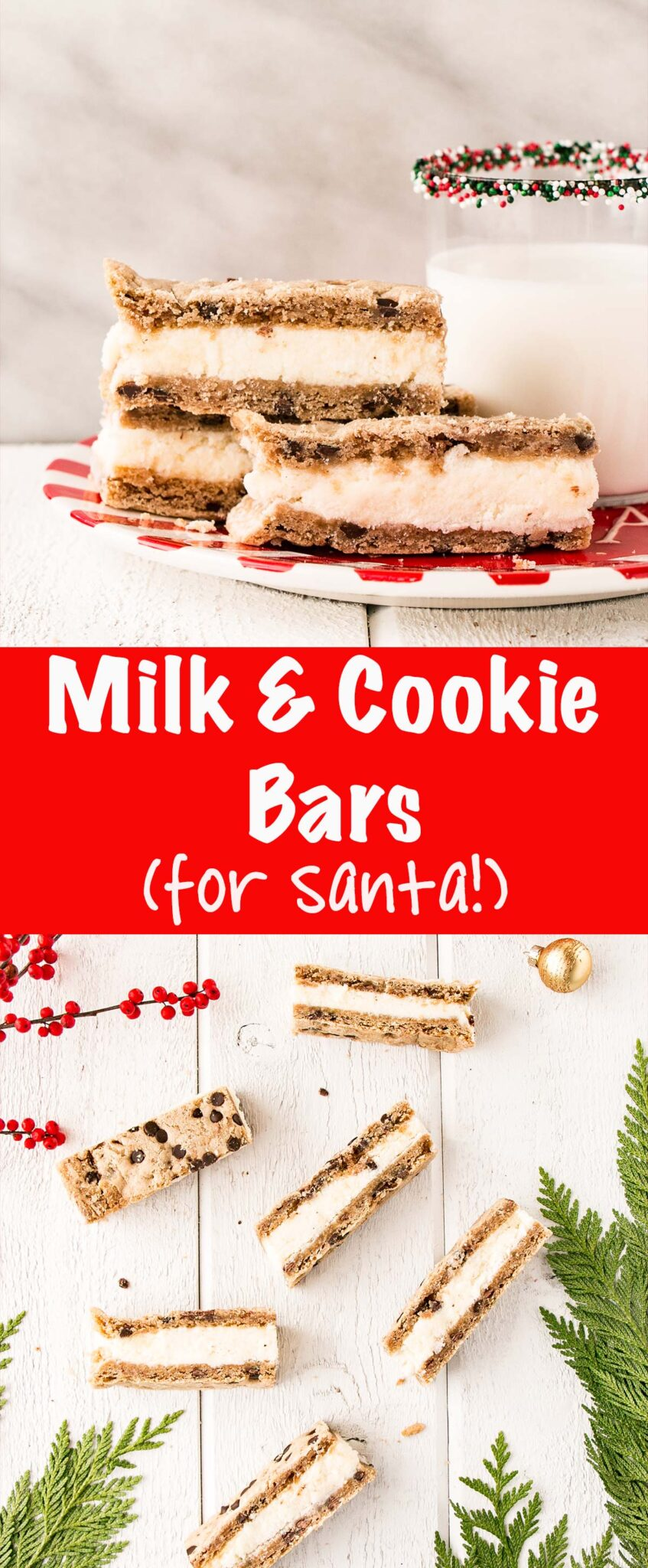 Milk and Cookie Bars (for Santa!) are easy to whip up and set a tradition on Christmas Eve. #ad #qualitymilk #christmas #milkandcookies