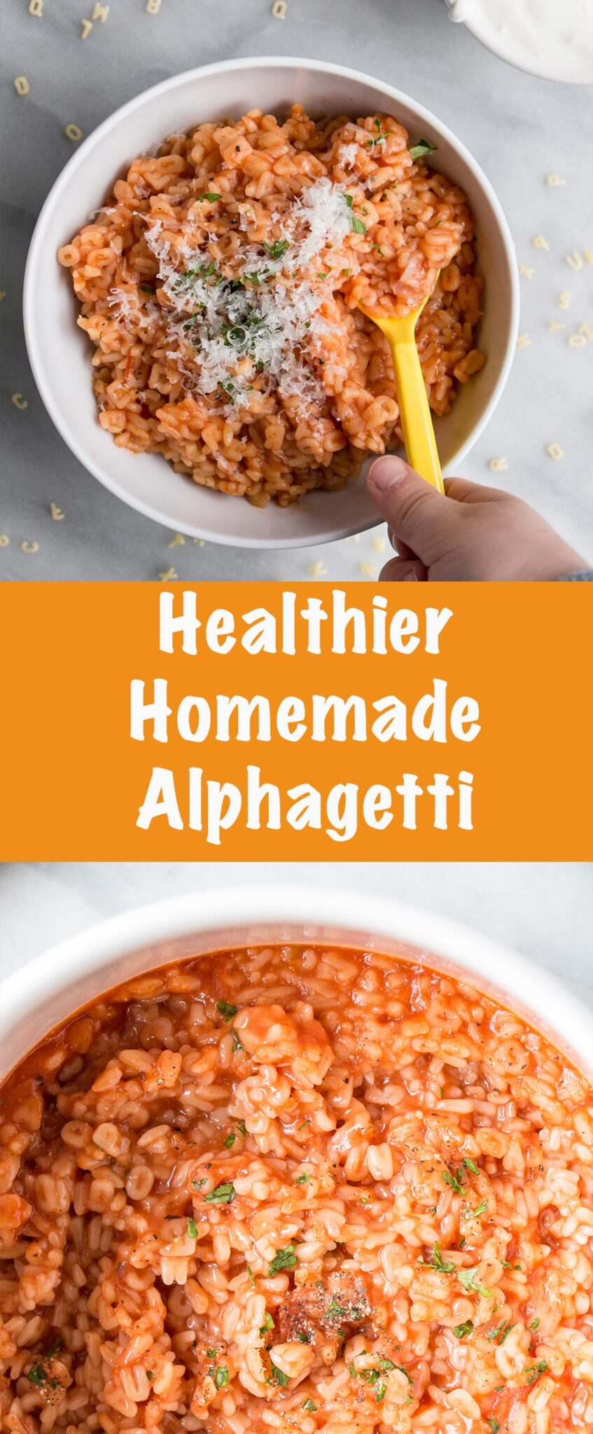 Healthier Homemade Alphagetti is a quick and easy dish with all the flavours of a childhood favourite flavours. #comfortfood #childhood #kidfriendly