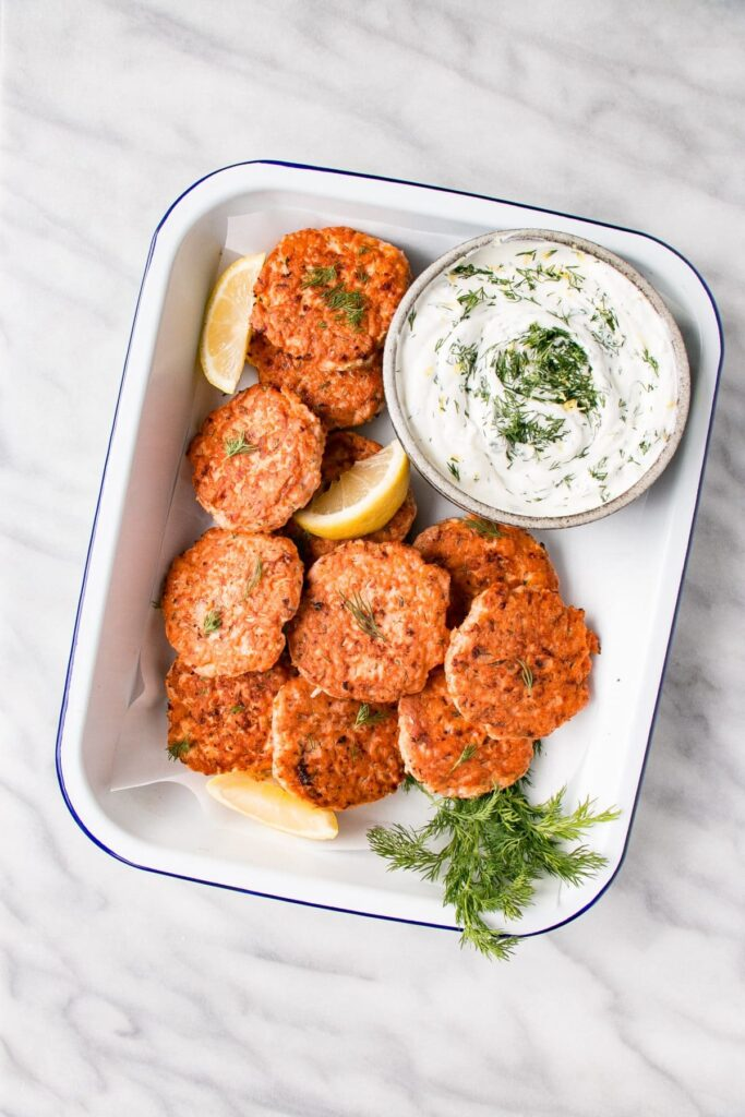 Dilly Salmon Cakes with Lemon Yogurt