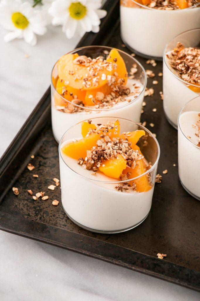 Peaches and Cinnamon Granola with Yogurt Panna Cotta